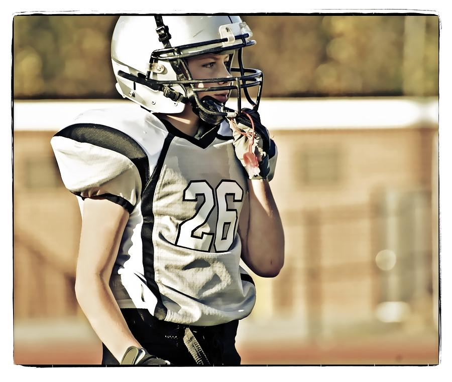 Sport; Young; Boy; Football; Player; Standing; Thinking; Listening; Youth; Uniform; Equipment; Tint; Instagram; Social; Media; Photo; Style Photograph - Twenty Six by Susan Leggett