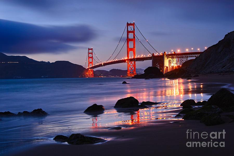 Golden Gate Bridge Photograph - Twilight - Beautiful Sunset View Of The Golden Gate Bridge From Marshalls Beach. by Jamie Pham