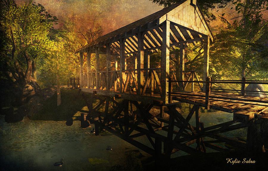 Bridge Digital Art - Twilight Bridge by Kylie Sabra