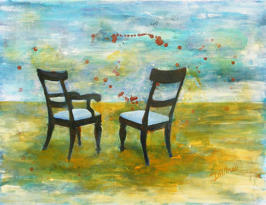 Chairs Painting - Twilight - Chairs by Deborah Allison