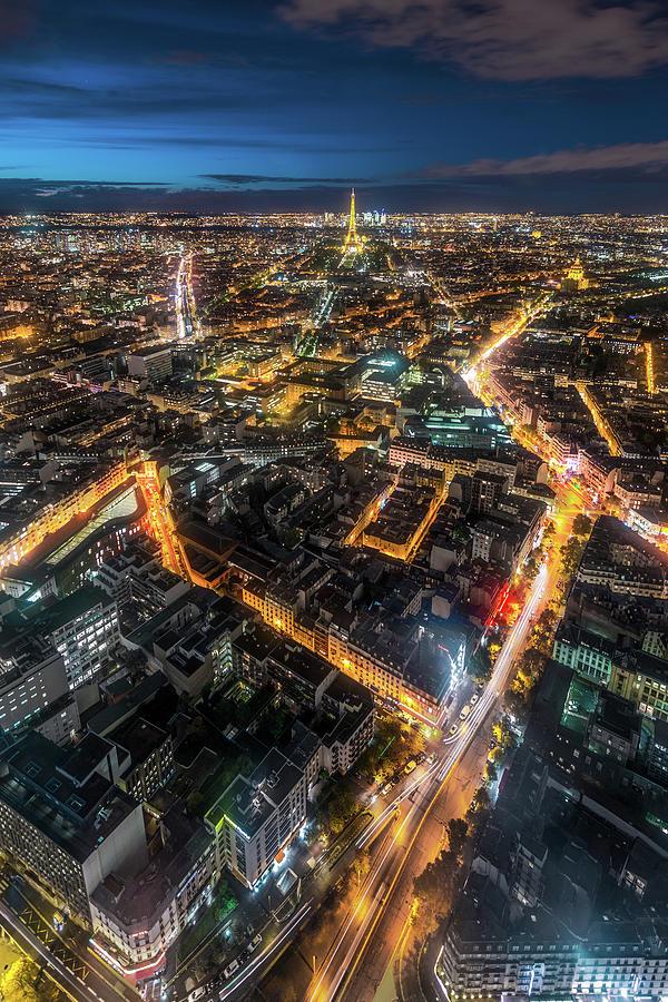 Twilight City View Of Paris Photograph by Coolbiere Photograph