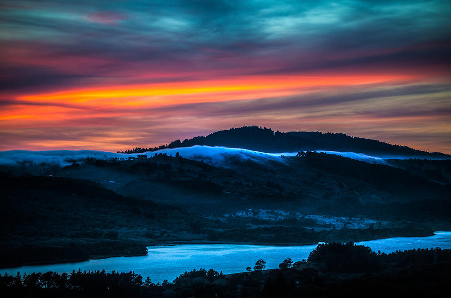 Sunset Photograph - Twilight Crawling Fog by Mike Lee