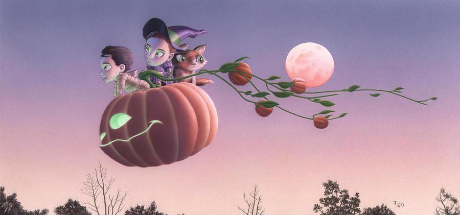 Halloween Painting - Twilight Flight by Richard Moore
