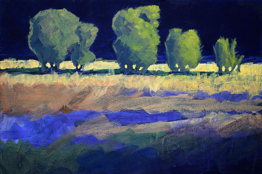 Trees Painting - Twilight Landscape by Nancy Merkle