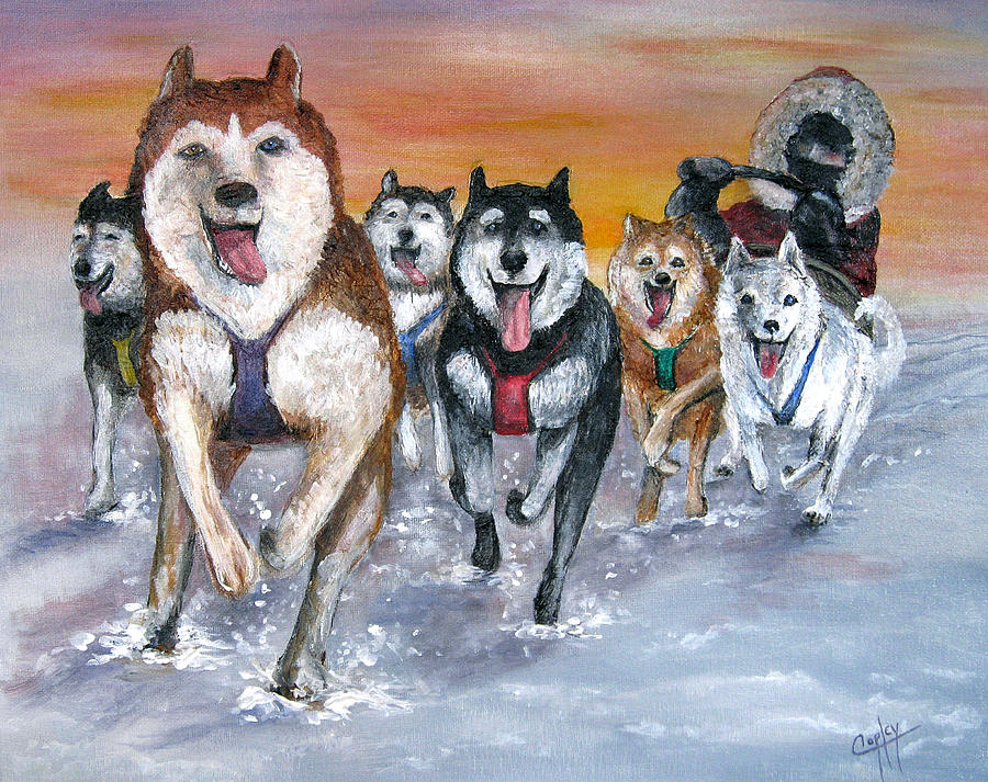 Dogs Painting - Twilight on the Trail by Karen Copley