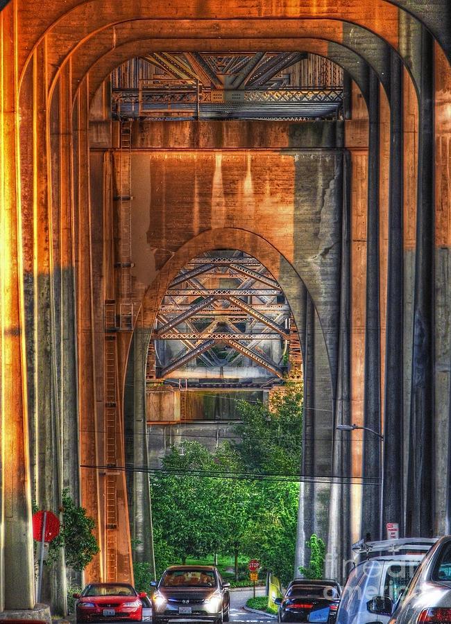 View Photograph - Twilight Under A Fremont Bridge by Chris Anderson