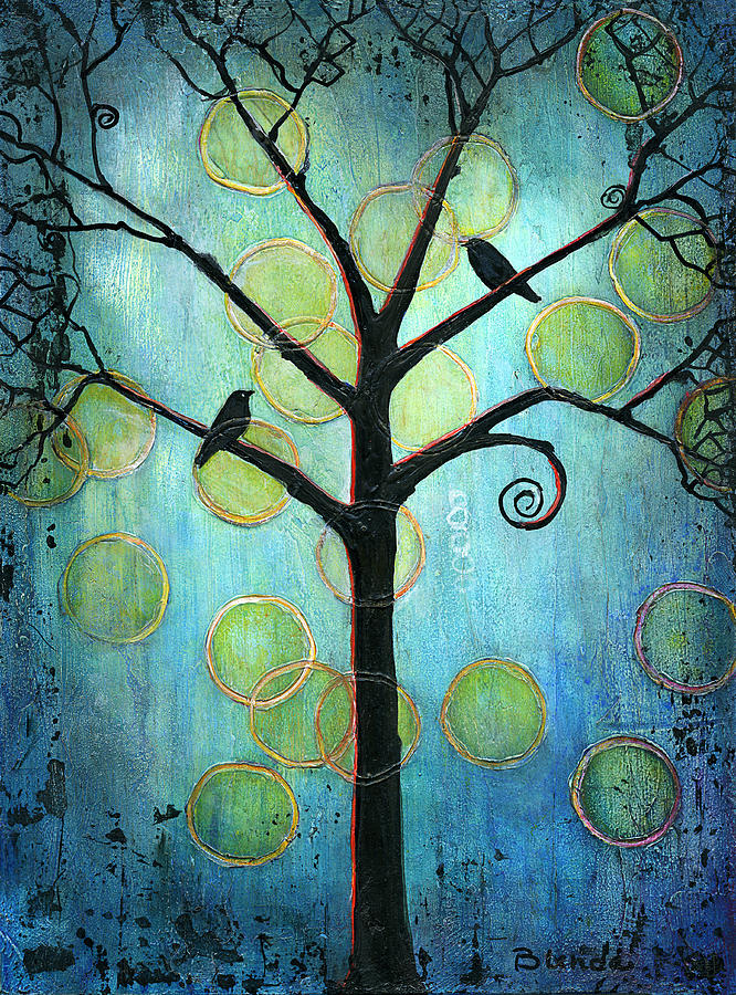 Tree Painting - Twilight Version 2 by Blenda Studio