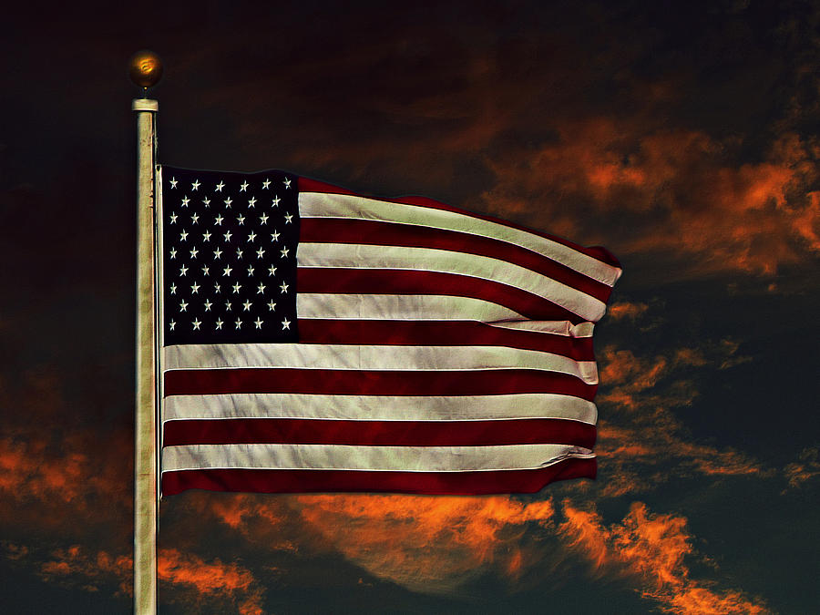 Flag Photograph - Twilights Last Gleaming by David Dehner
