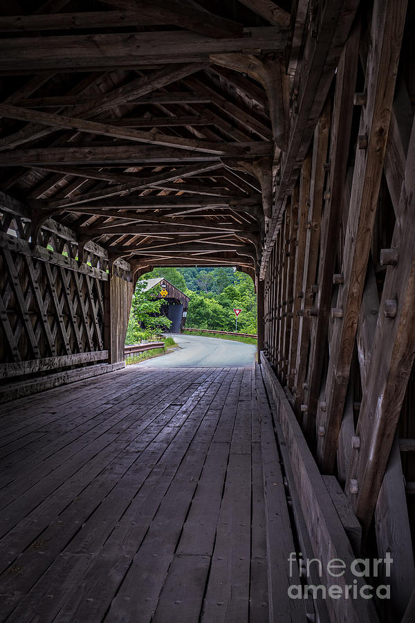 Vermont Photograph - Twin Covered Bridges North Hartland Vermont by Edward Fielding