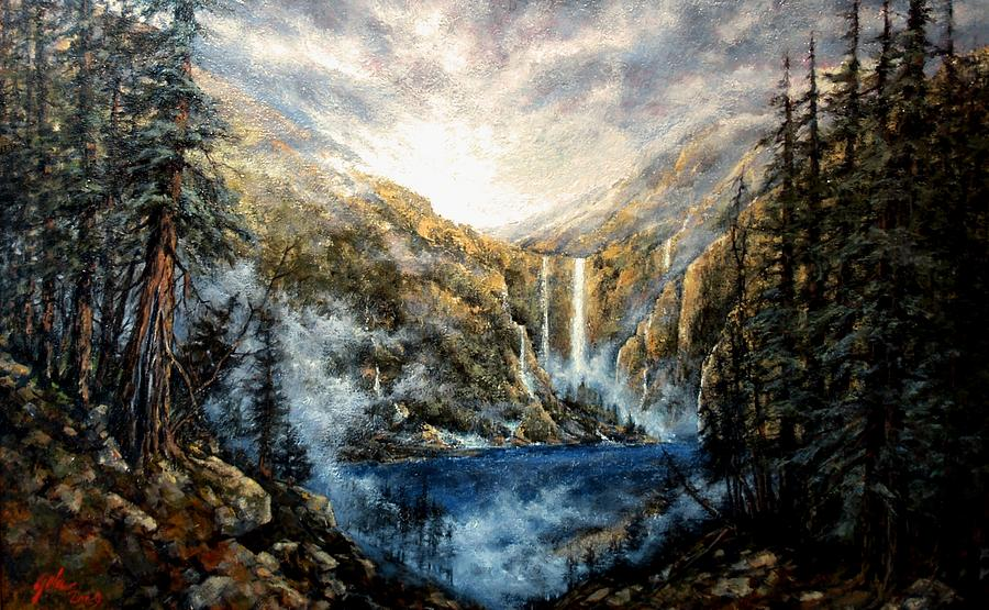Landscape Painting - Twin Falls by Jim Gola