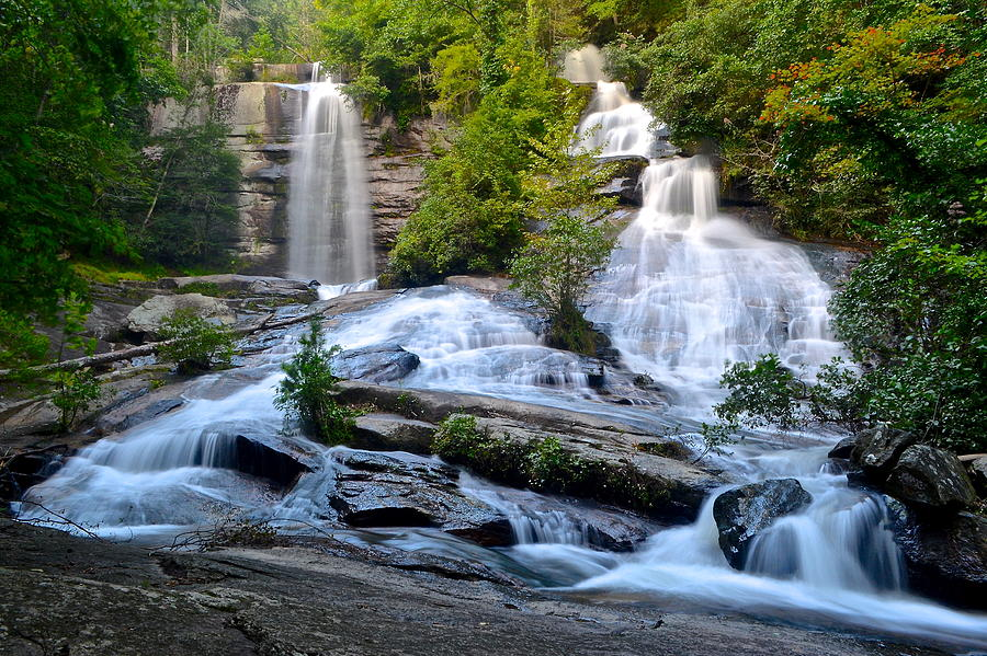 Twin Photograph - Twin Falls South Carolina by Frozen in Time Fine Art Photography