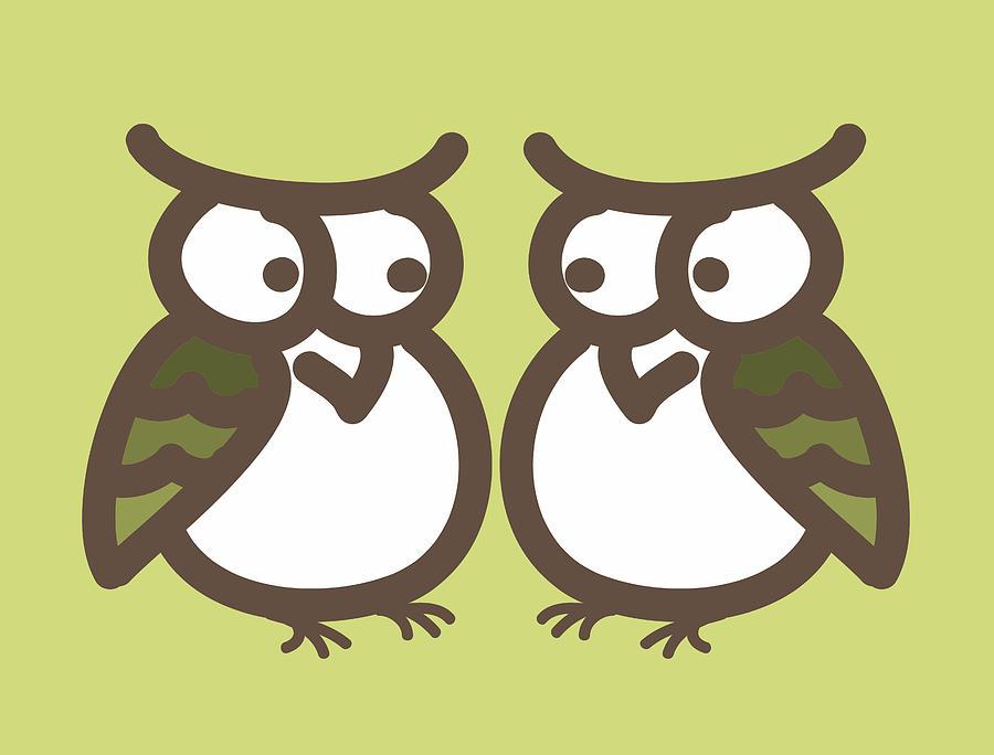 Twin Digital Art - Twin Owl Babies- Nursery Wall Art by Nursery Art