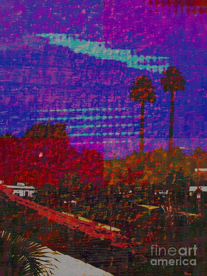 Twin Palms Painting - Twin Palms Purple Haze by J Burns