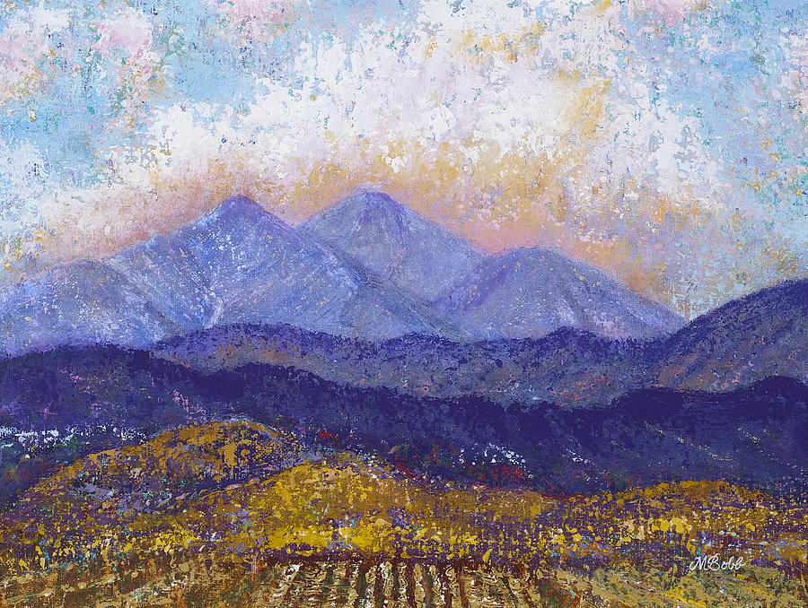 Landscape Painting - Twin Peaks Above The Fruited Plain by Margaret Bobb