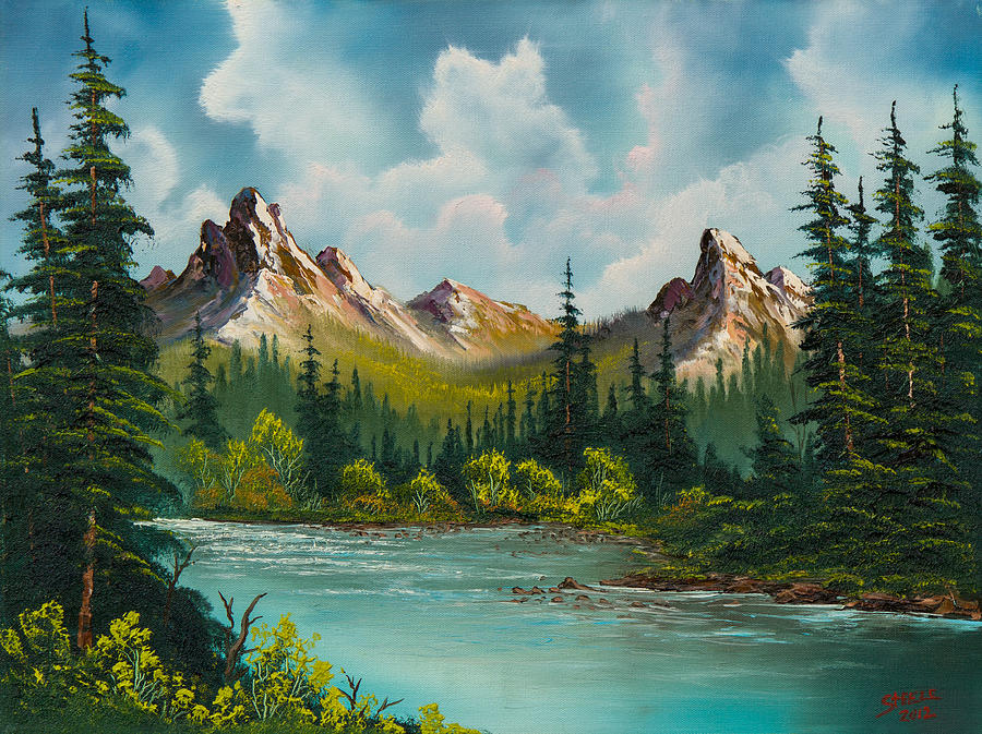 Landscape Painting - Twin Peaks River by C Steele