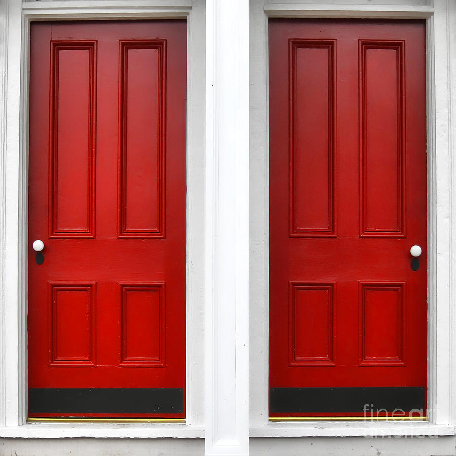 Doors Photograph - Twin Red Doors by Olivier Le Queinec