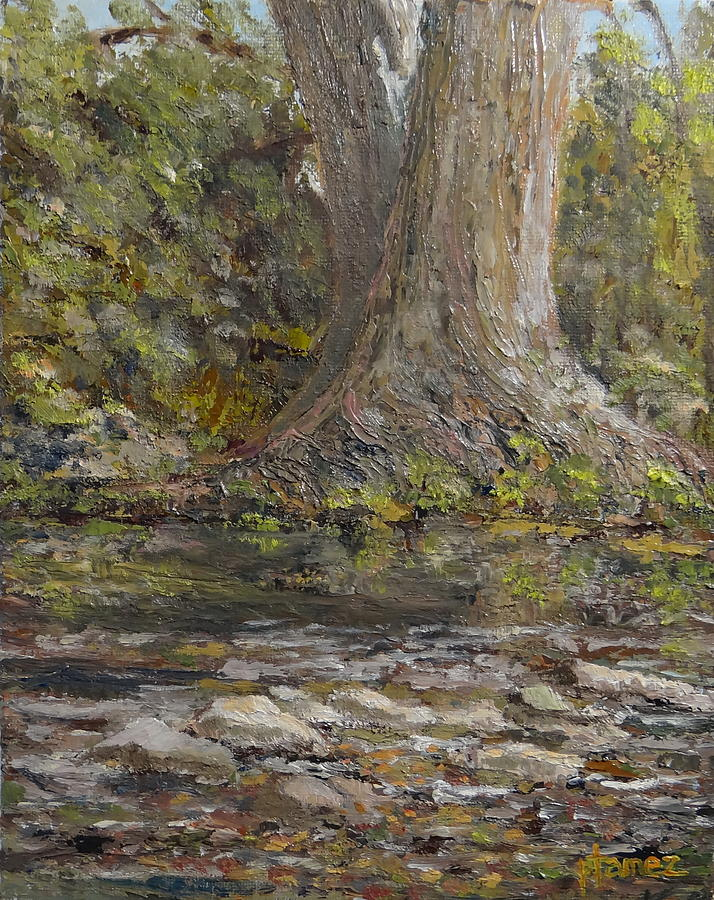 Waterscape Painting - Twin Sentinels On The Cibolo by Pauly Tamez
