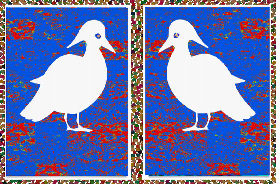 Soul Mixed Media - Twin Souls Love Birds Snow White Color by Navin Joshi