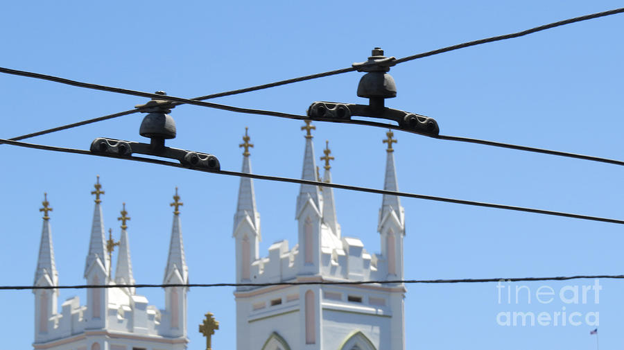 San Francisco Photograph - Twin Spires And Trolley Lines by Mary Mikawoz