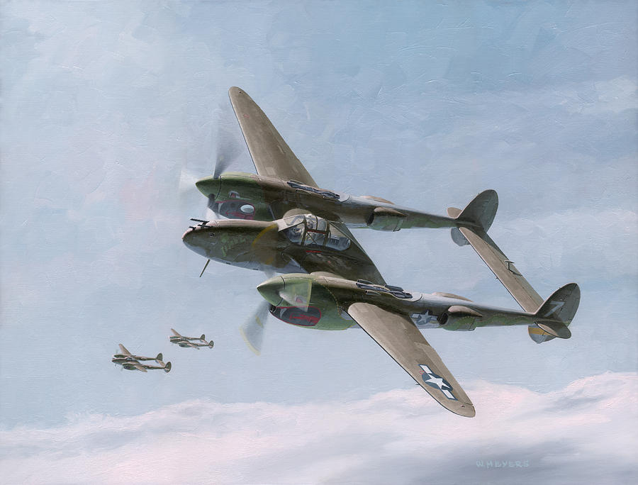 P-38 Painting - Twin-tailed Dragons by Wade Meyers