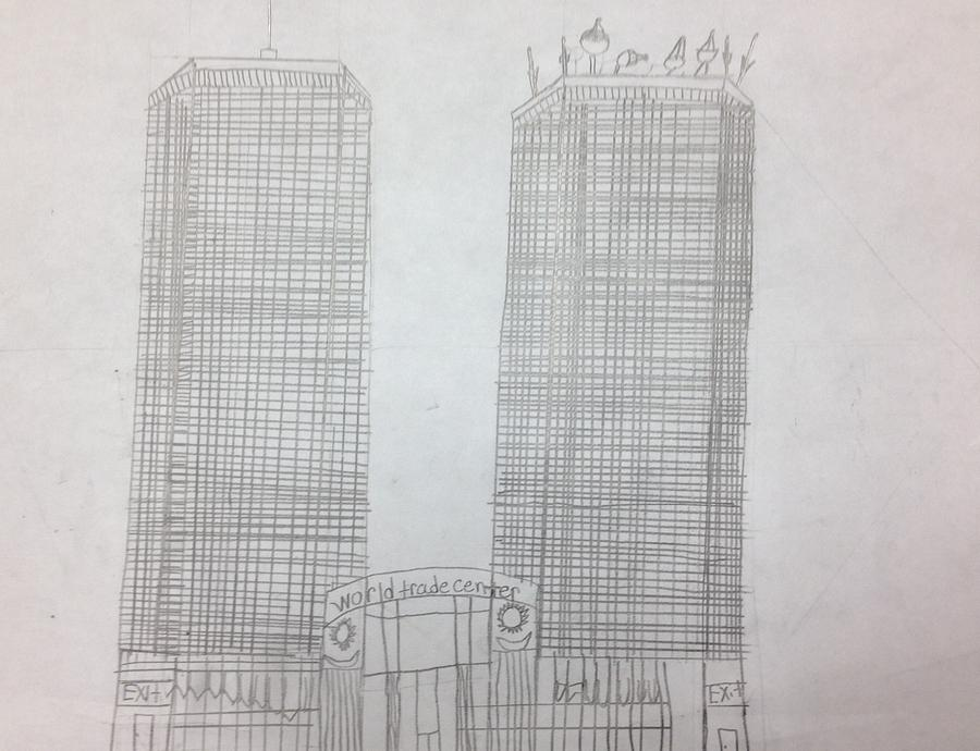 It's just a graphic of Invaluable Twin Towers Drawing