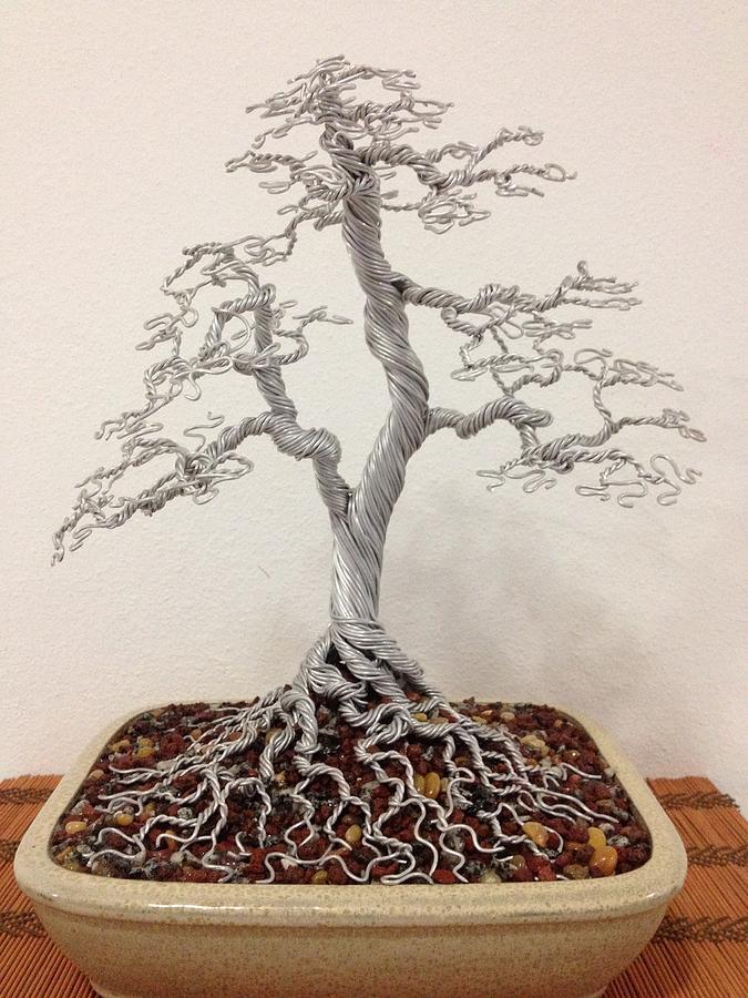 Twin Trunk Wire Bonsai Tree Sculpture By Alejandro Barreto