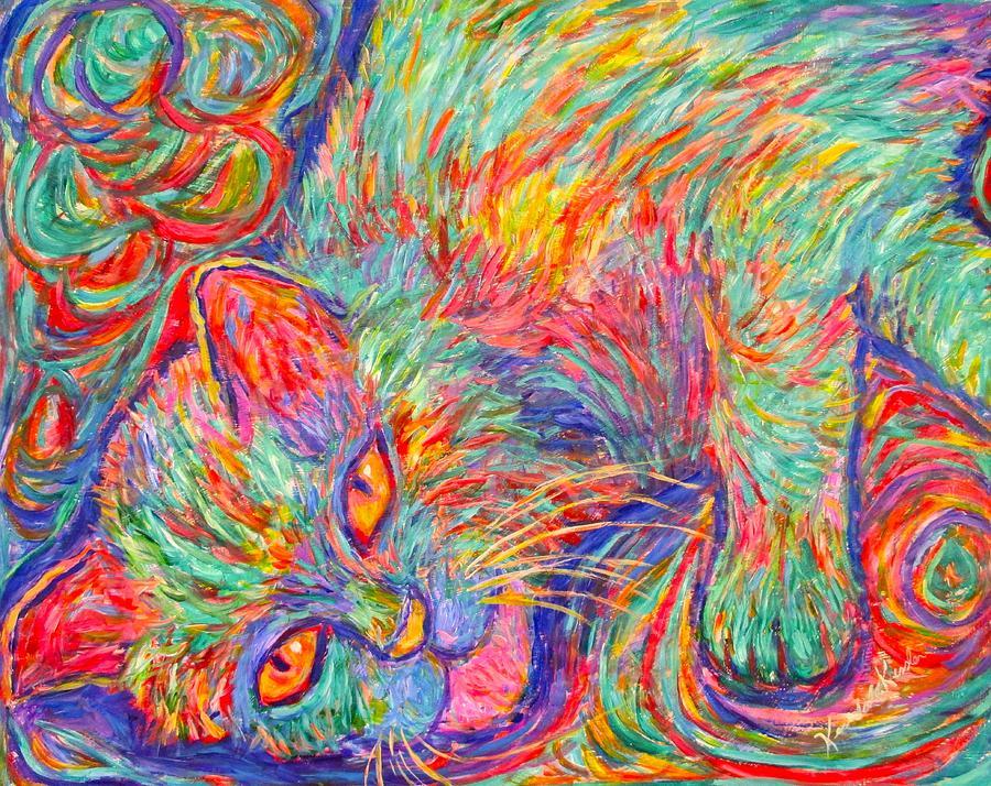 Cat Painting - Twine Dreams by Kendall Kessler