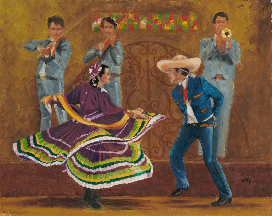 Folklorico Painting - Twirling Skirt by Maria Gibbs