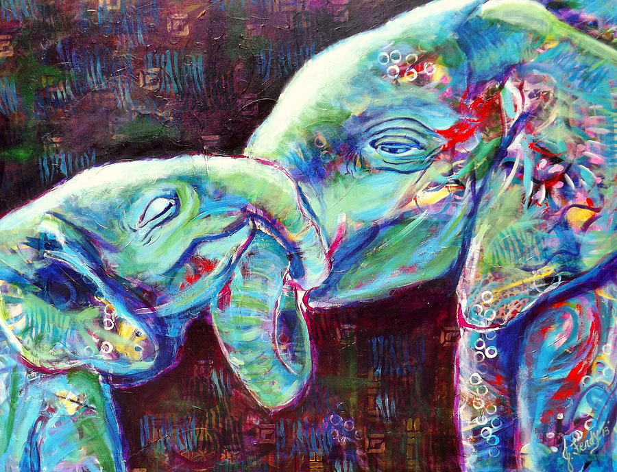 Elephants Painting - Tangled Bliss by Goddess Rockstar