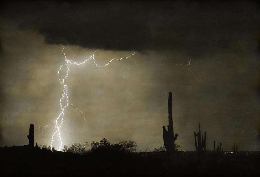 Saguaro Photograph - Twisted Desert Lightning Storm by James BO  Insogna