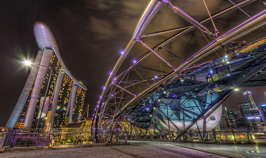 Helix Bridge Photograph - Twisted Path by Mario Legaspi