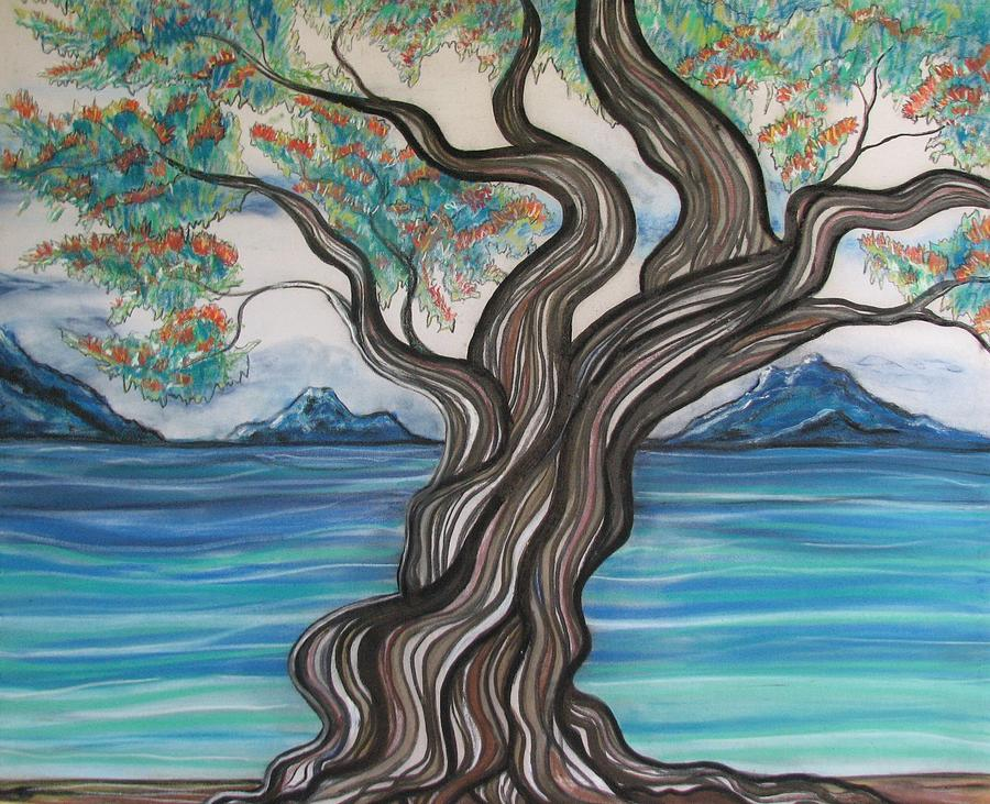 Twisted Tree Drawing by Joan Stratton