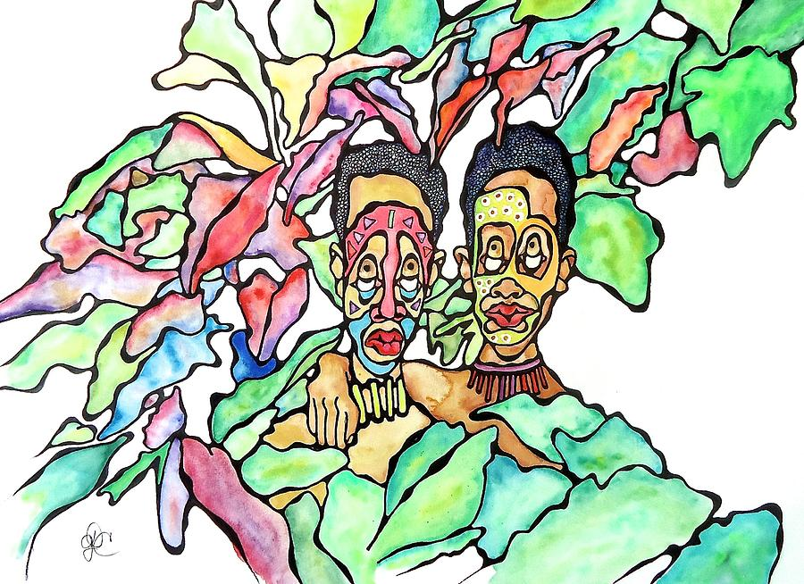 Men Painting - Two African Men In Leaves by Glenn Calloway
