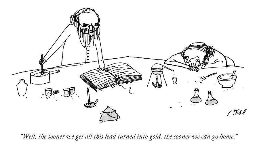 Two Alchemists With Beards Stand At A Lab Bench Drawing by Edward Steed