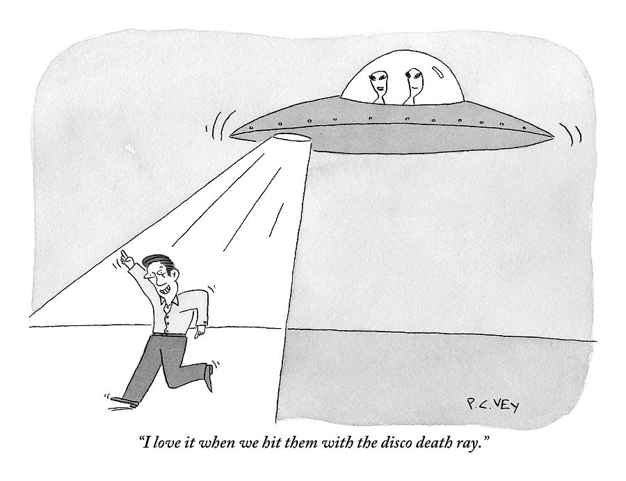 Two Aliens In A Flying Saucer Hit A Man Drawing by Peter C. Vey