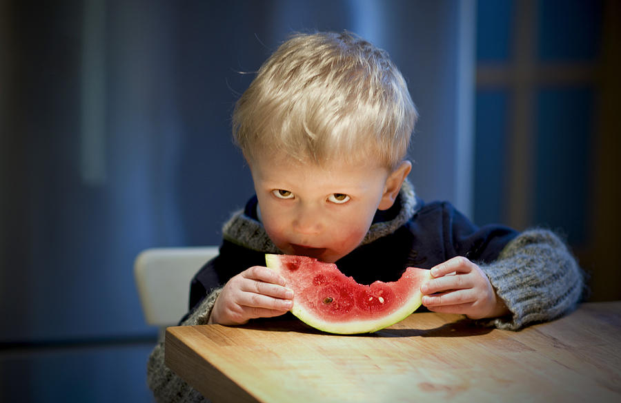 Children Photograph - Two And A Half Years Of Watermelon Love by Valerie Rosen