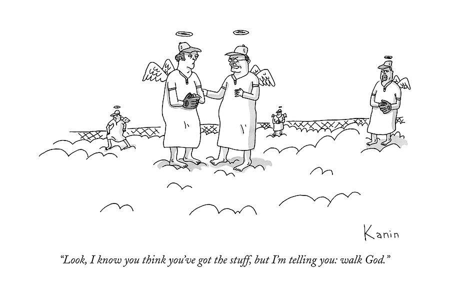 Two Angels Speak To Each Other In A Baseball Drawing by Zachary Kanin