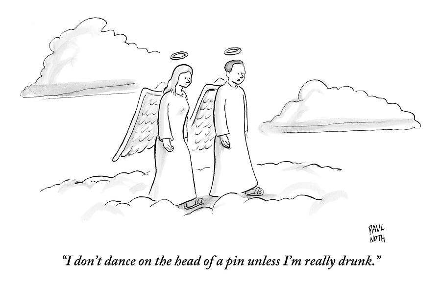 Two Angels Walking In Heaven Having Drawing by Paul Noth