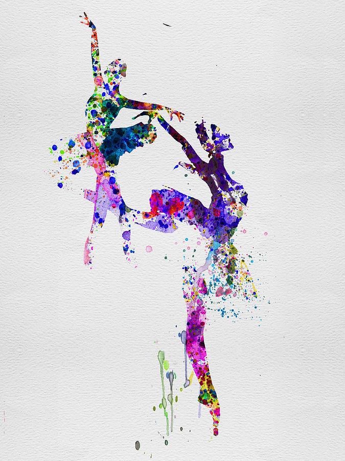 Ballet Painting - Two Ballerinas Dance Watercolor by Naxart Studio