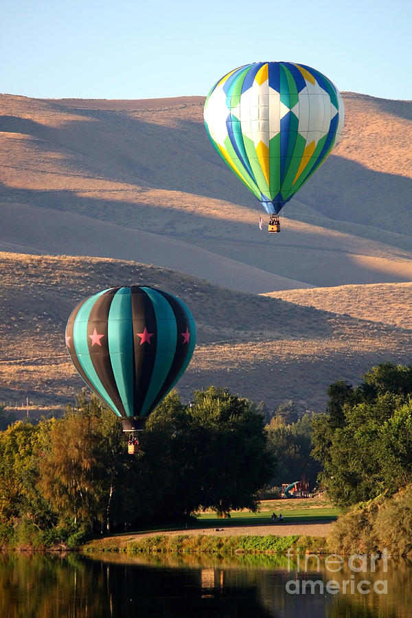Hot Air Balloons Photograph - Two Balloons In Morning Sunshine by Carol Groenen