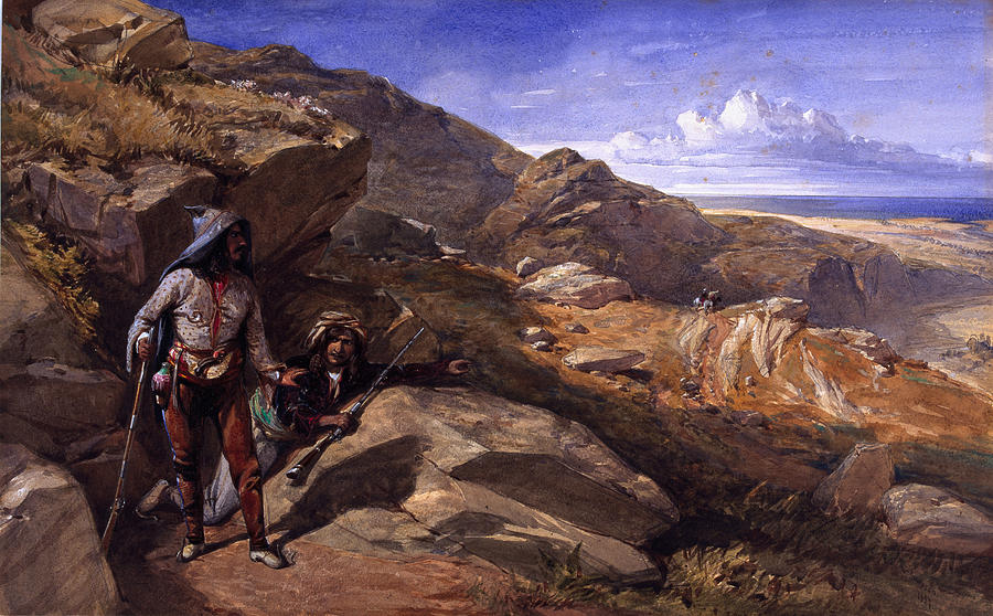 Bandit Drawing - Two Bandits In The Hills, 1857 by William Crimea Simpson
