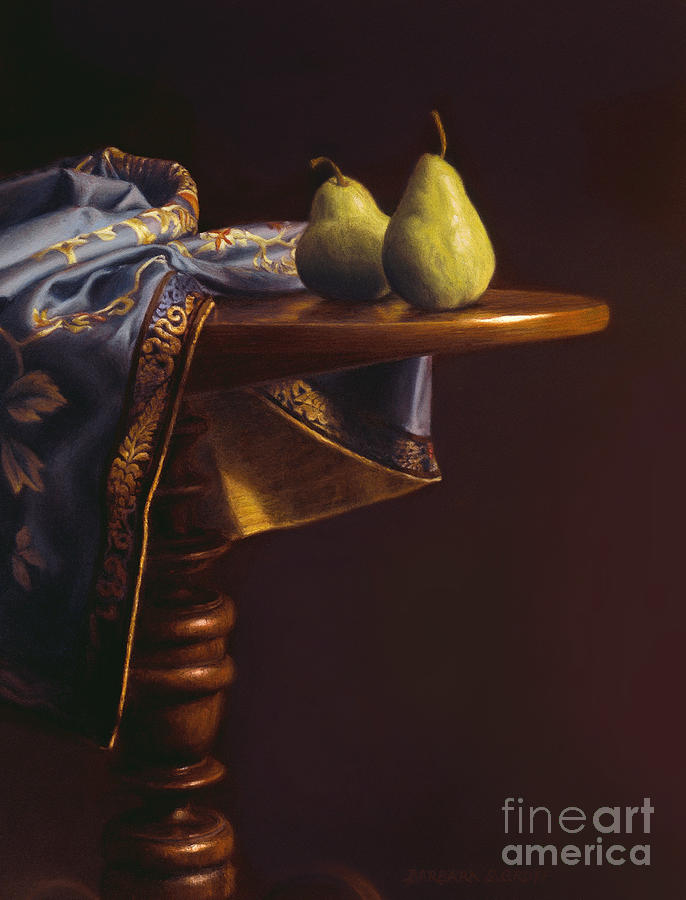Still Life Painting - Two Bartletts On A Tilt-top Table by Barbara Groff