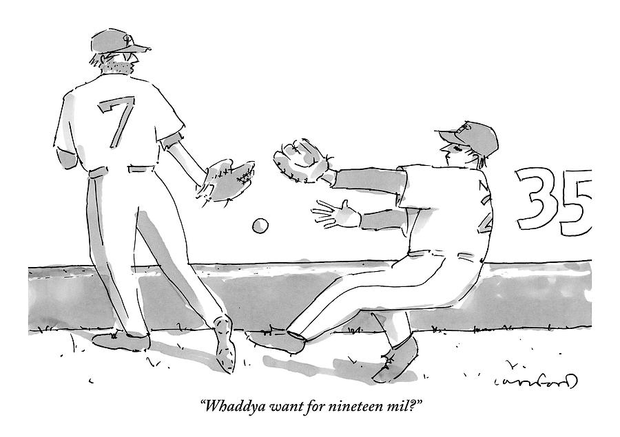 Two Baseball Players And A Baseball In The Air Drawing by Michael Crawford