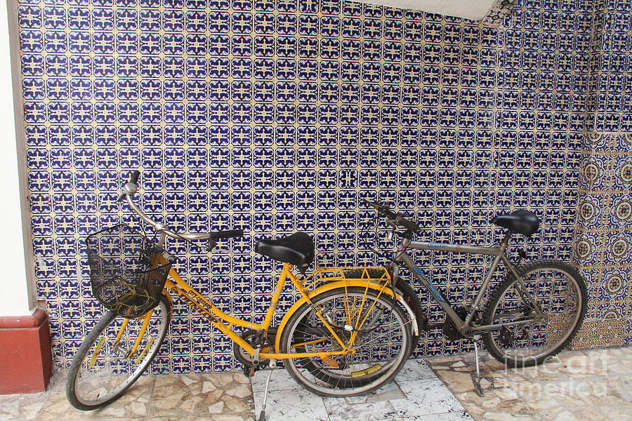 Yellow Bicycle Photograph - Two Bicycles At The Hotel Belmar by Linda Queally