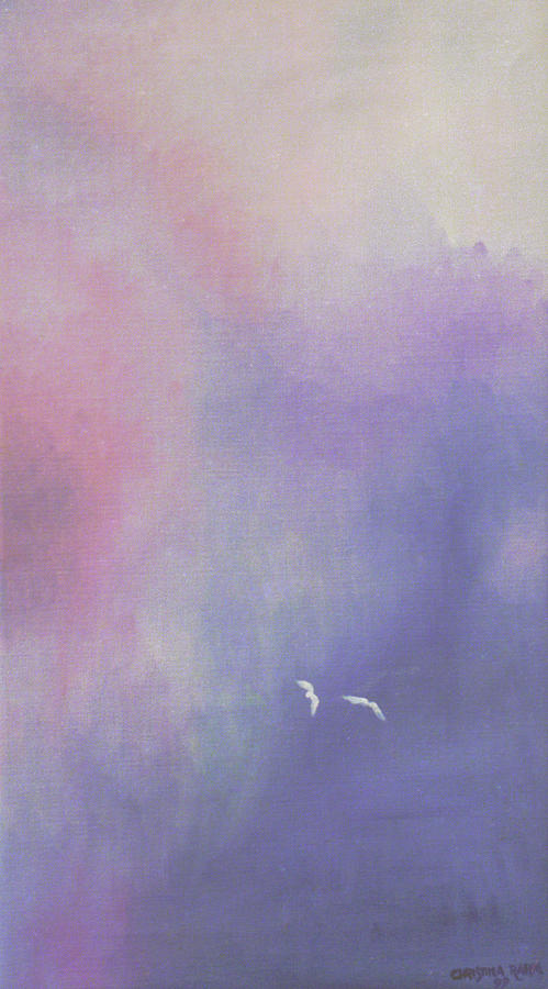 Sky Painting - Two Birds Flying In Ravine. by Christina Rahm Galanis