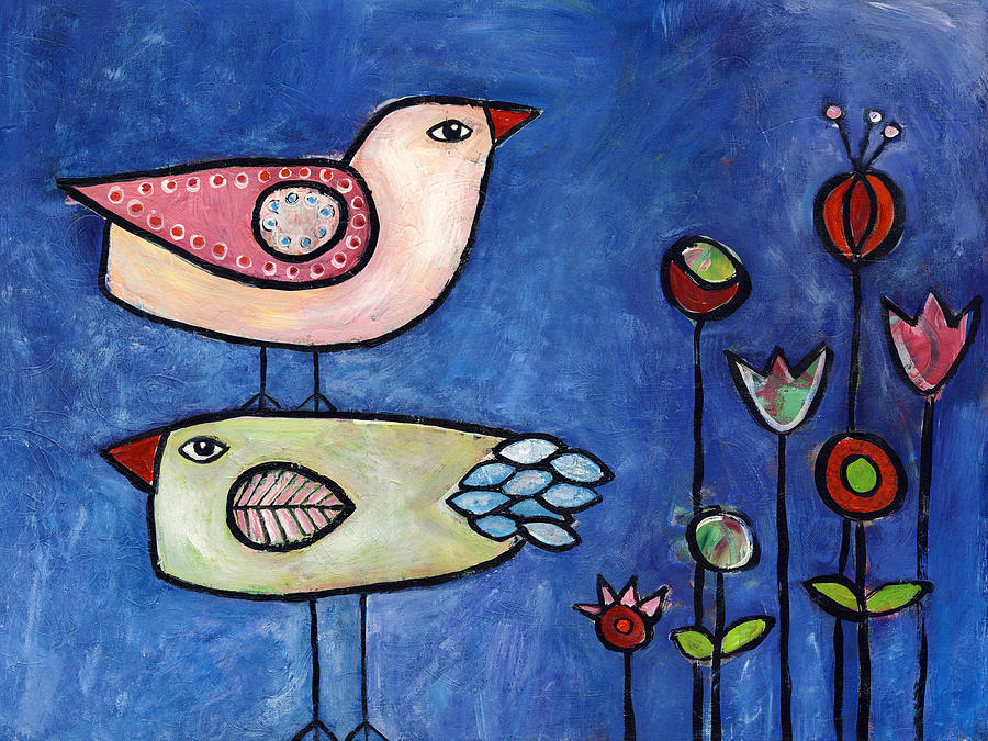 Wildflowers Painting - Two Birds by Susie Lubell