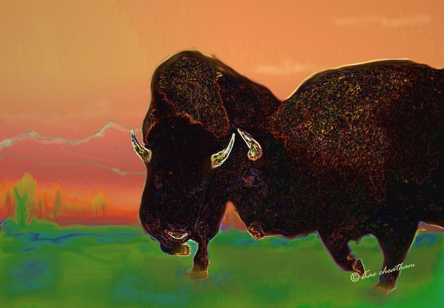 Western Scene Digital Art - Two Bison by Kae Cheatham