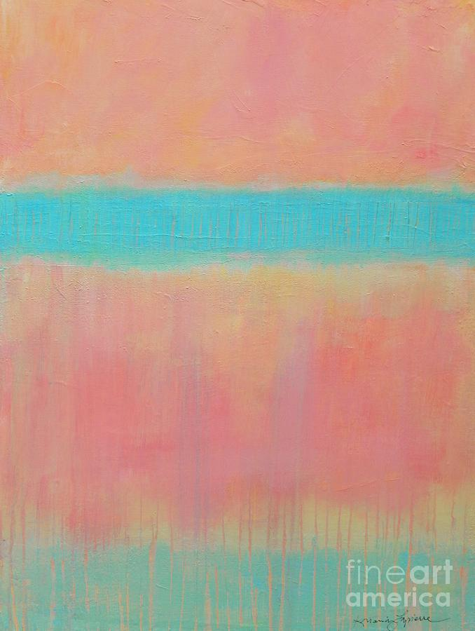 Acrylic Painting - Two Blue Lines by Kate Marion Lapierre