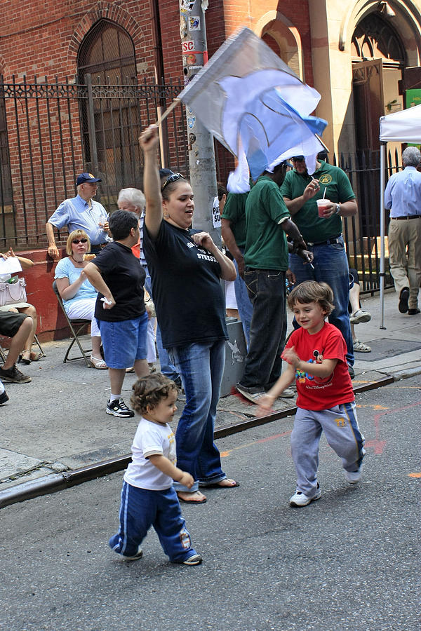 Children Photograph - Two Boys Having Some Fun At The 200th Anniversary Of St. Patrick Old Cathedral by James Connor