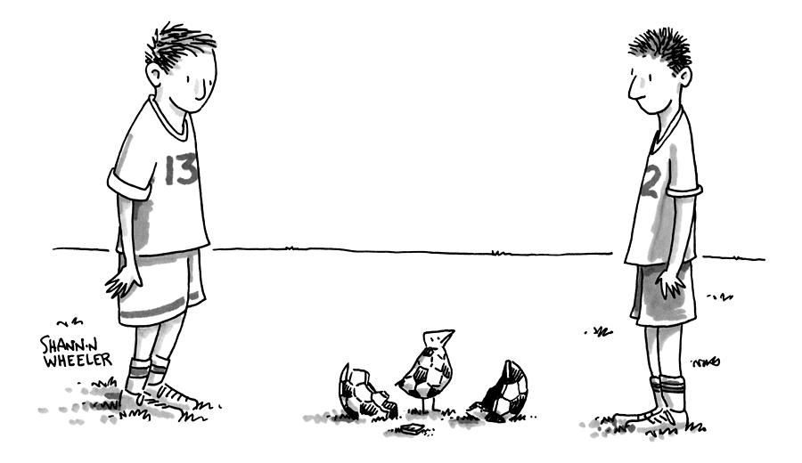 Two Boys On A Soccer Team Look Down At The Ground Drawing by Shannon Wheeler